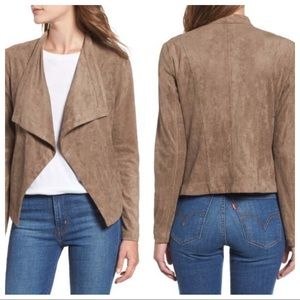 BB Dakota Brown Faux Suede Drape Front Jacket